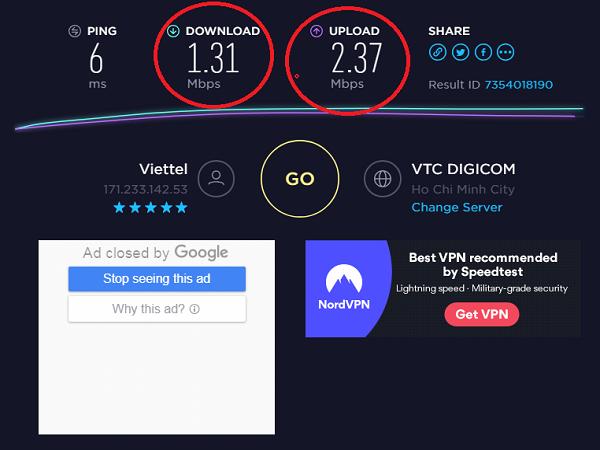 kiểm tra tốc độ mạng 1.3