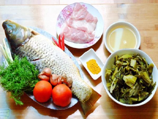 nguyên liệu món cá chép om dưa