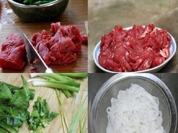 trụng thịt bò và bánh phở