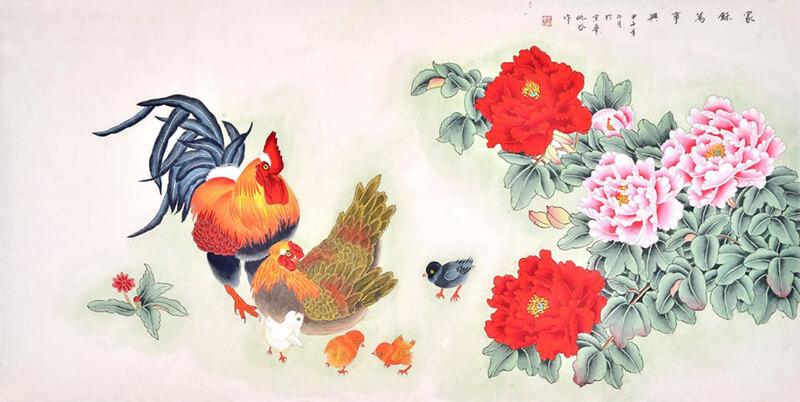 Tranh gà trống và hoa mẫu đơn