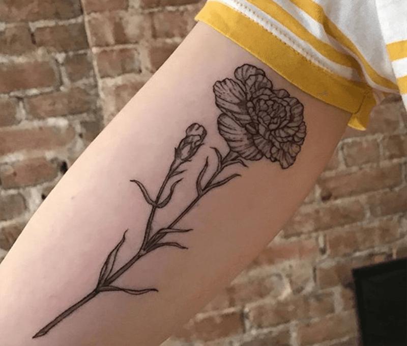 Hình xăm hoa cẩm chướng trên tay
