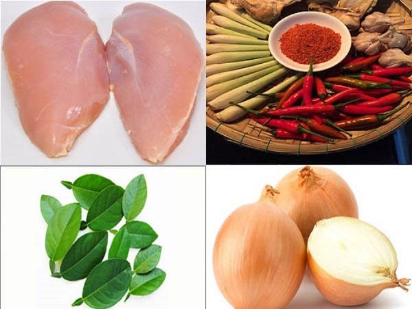nguyên liệu món khô gà