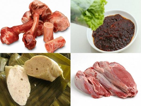 nguyên liệu nấu bún bò huế