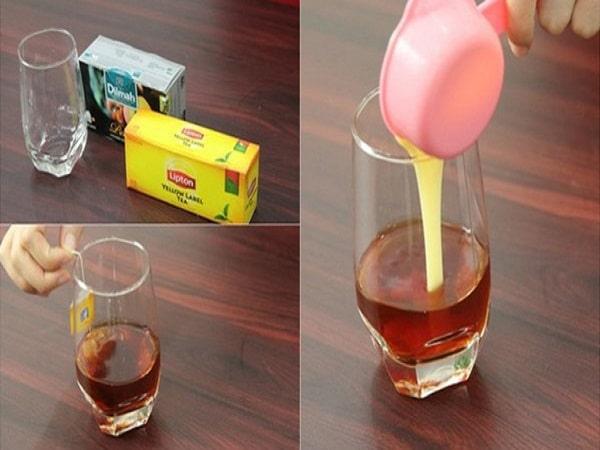 cho từ từ sữa đặc vào trà lipton