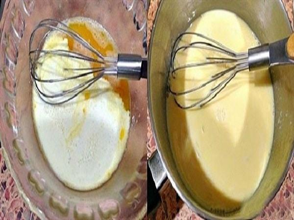 đun nóng hỗn hợp trứng và sữa tươi làm kem matcha