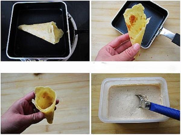làm bánh ốc quế cho kem