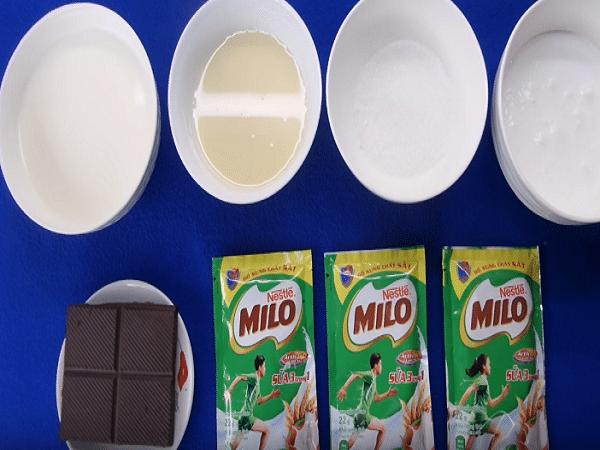 các nguyên liệu làm kem milo