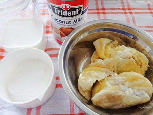 nguyên liệu cho cách làm kem sầu riêng
