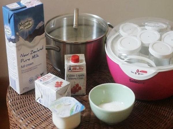 các nguyên liệu để làm sữa chua