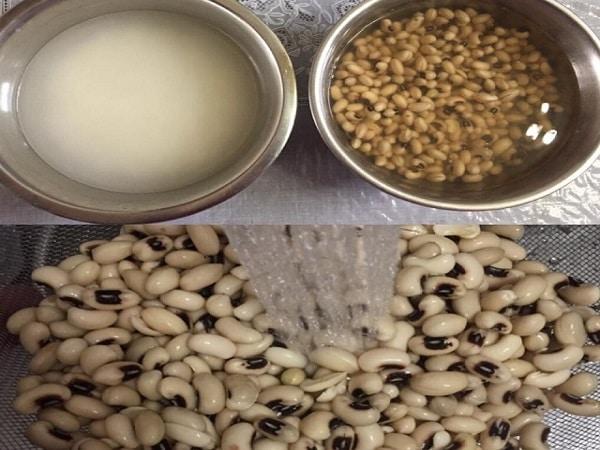 ngâm đậu trắng và gạo nếp trước khi nấu