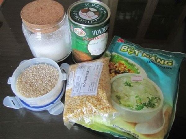 nguyên liệu cho cách nấu chè đậu xanh
