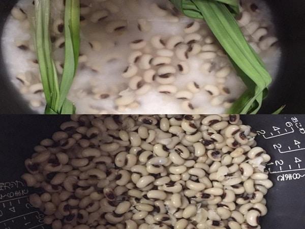 xếp từng nguyên liệu vào nồi chè đậu trắng