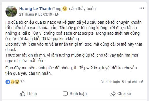 Xin lỗi bạn bè vì Facebook bị hack