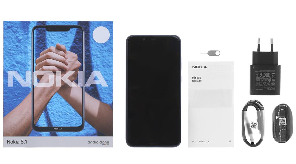 Bộ sản phẩm bên trong hộp Nokia 8.1