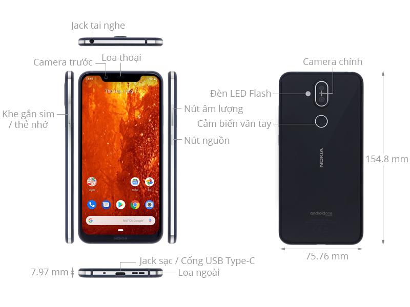 Các bộ phận thiết kế Nokia 8.1