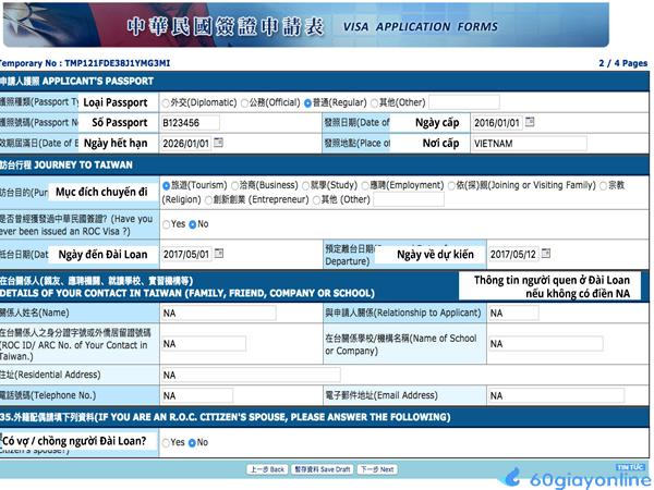 Xin visa Đài Loan