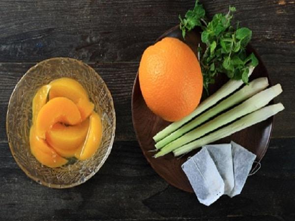 nguyên liệu cho món trà đào cam sả